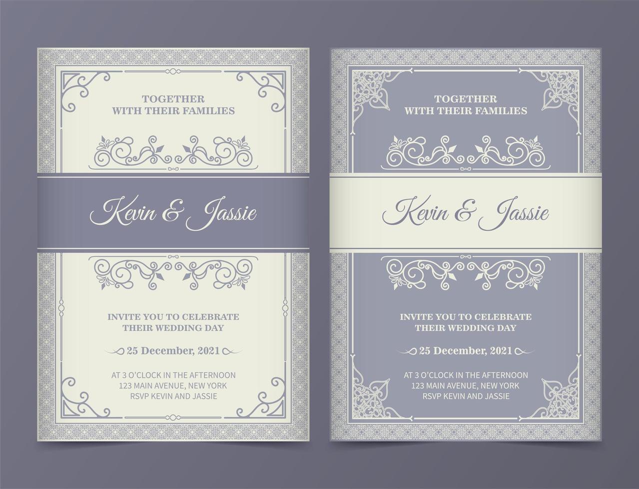 vintage lila och grädde bröllop inbjudan set vektor