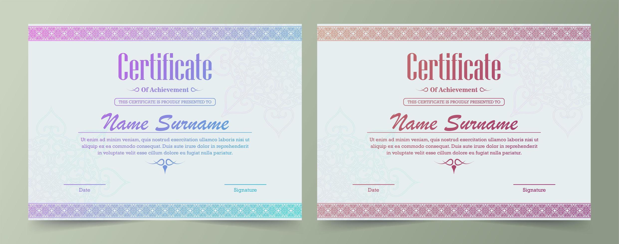 ljusa gradient dekorativa gränsen certifikatuppsättning vektor
