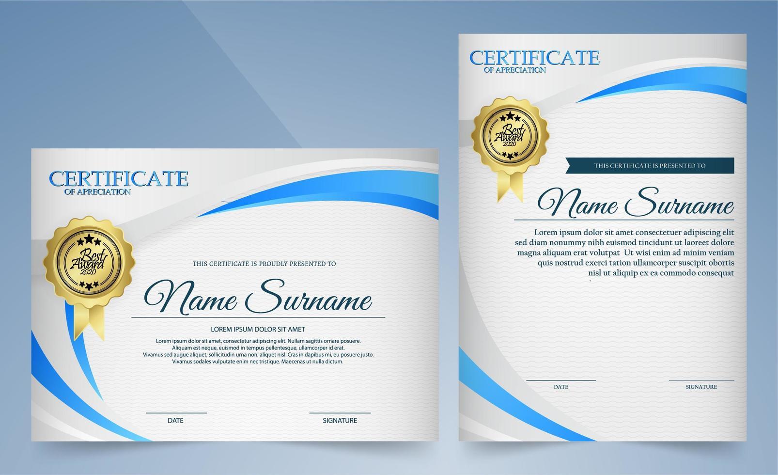 uppskattningscertifikat med böjda vita och blå linjer vektor