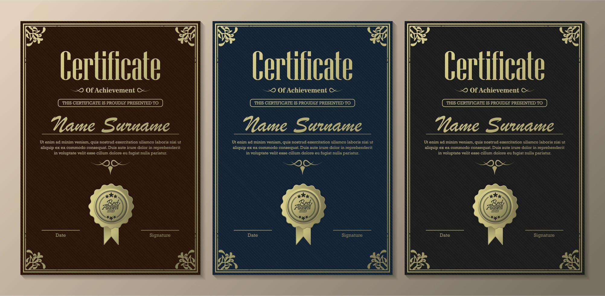 klassiska certifikat för prestationsmallar vektor