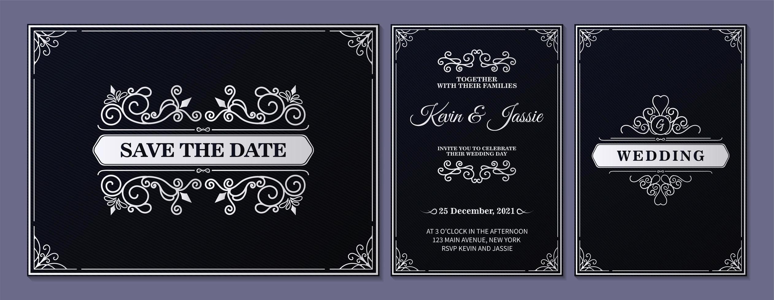 svartvita prydnadsbröllopskortuppsättning vektor