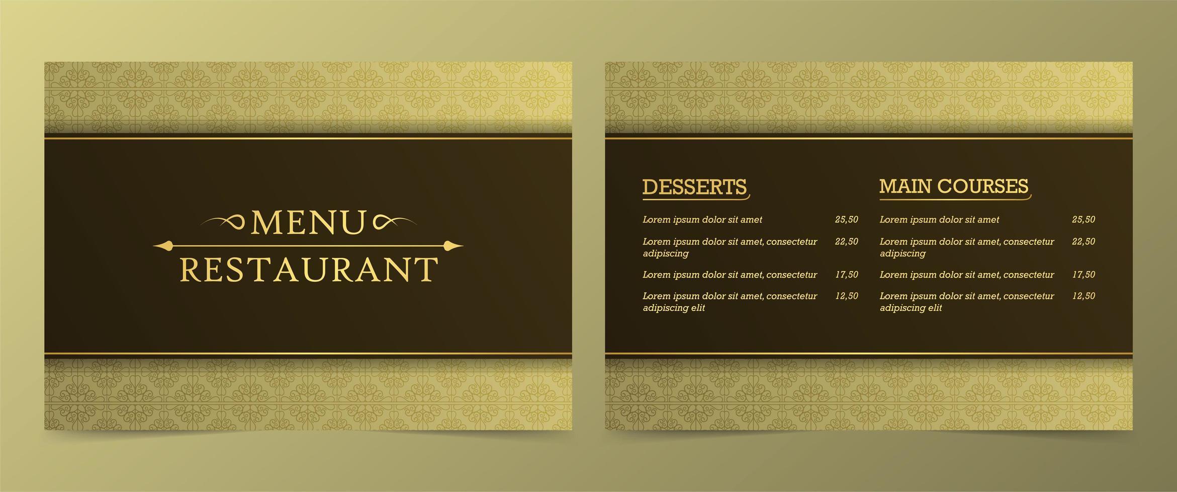 golden gemusterte Restaurantkarte vektor