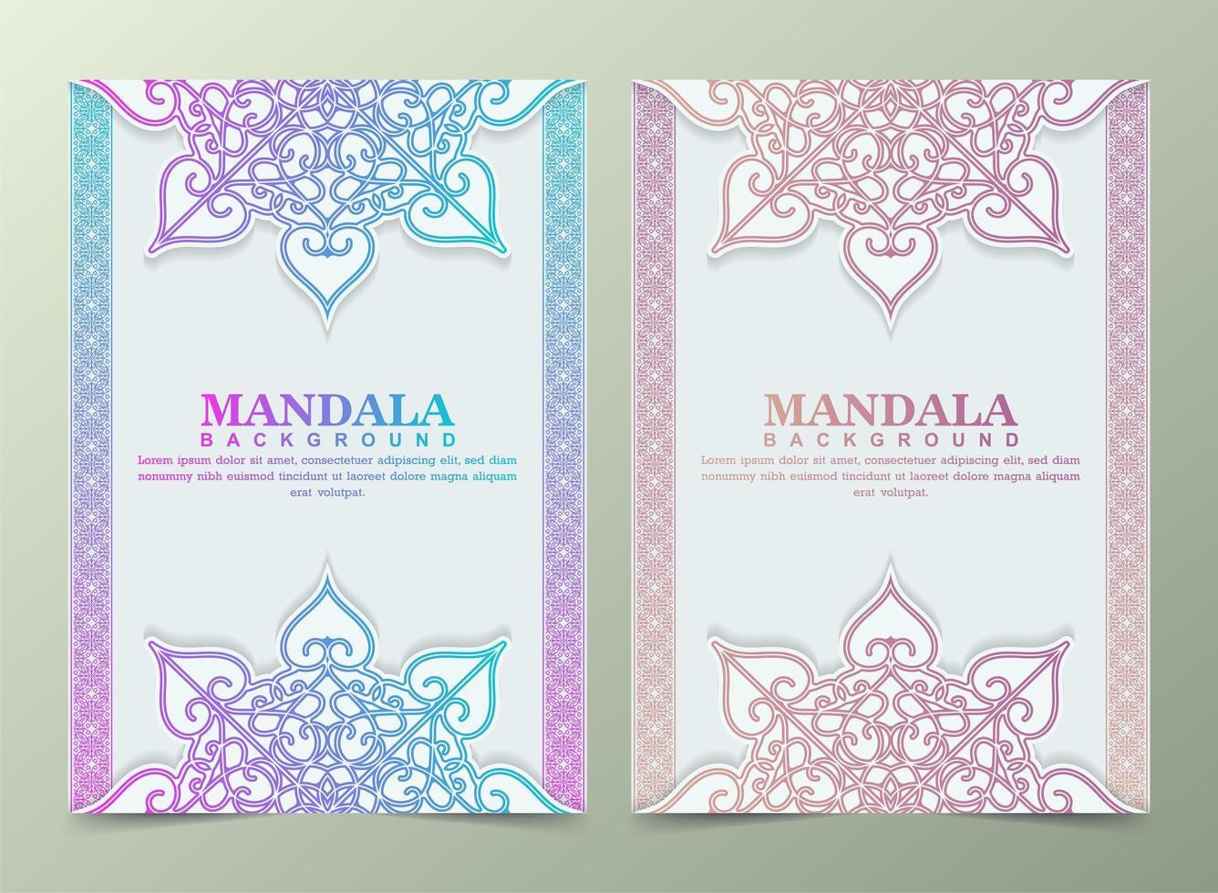Vintage Grußkarte mit buntem Mandala-Motiv vektor
