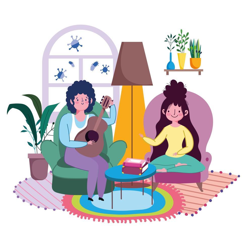 ett par i vardagsrummet som spelar musik tillsammans vektor