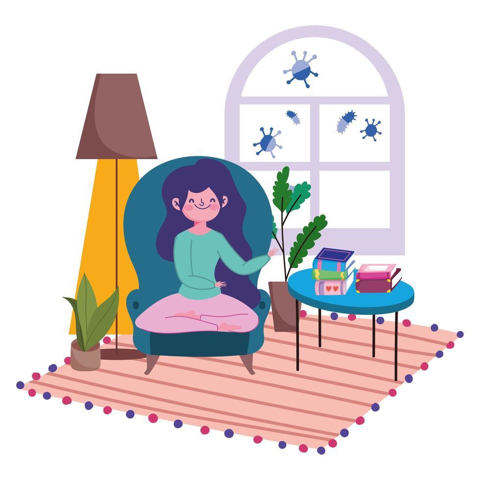 tjej som sitter på stolen med böcker inomhus vektor