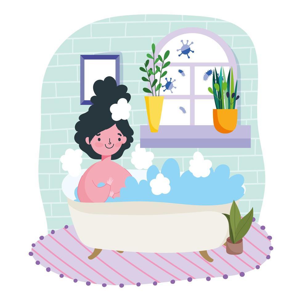 ung kvinna kopplar av i badkaret vektor