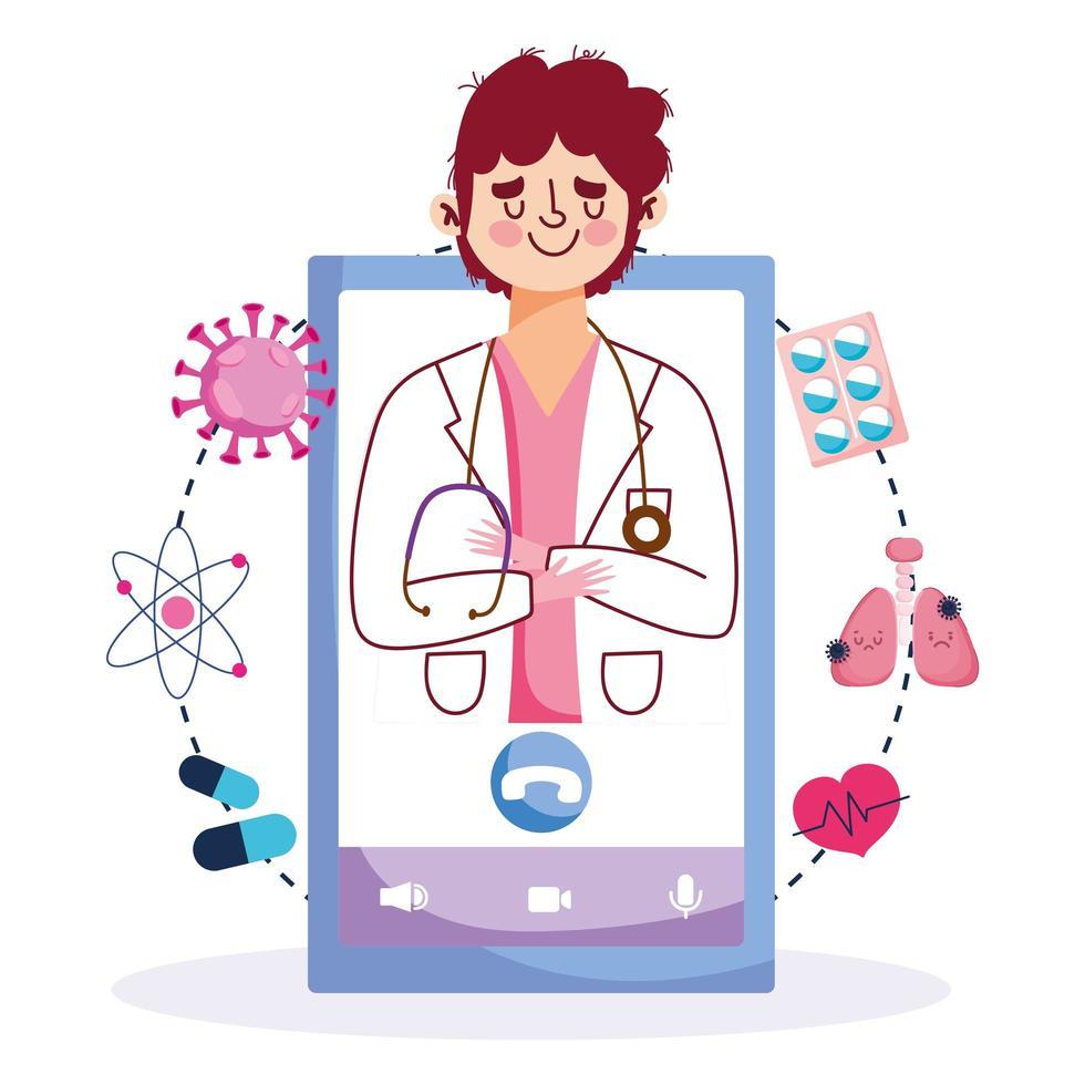 online vård med manlig läkare på telefonskärmen vektor