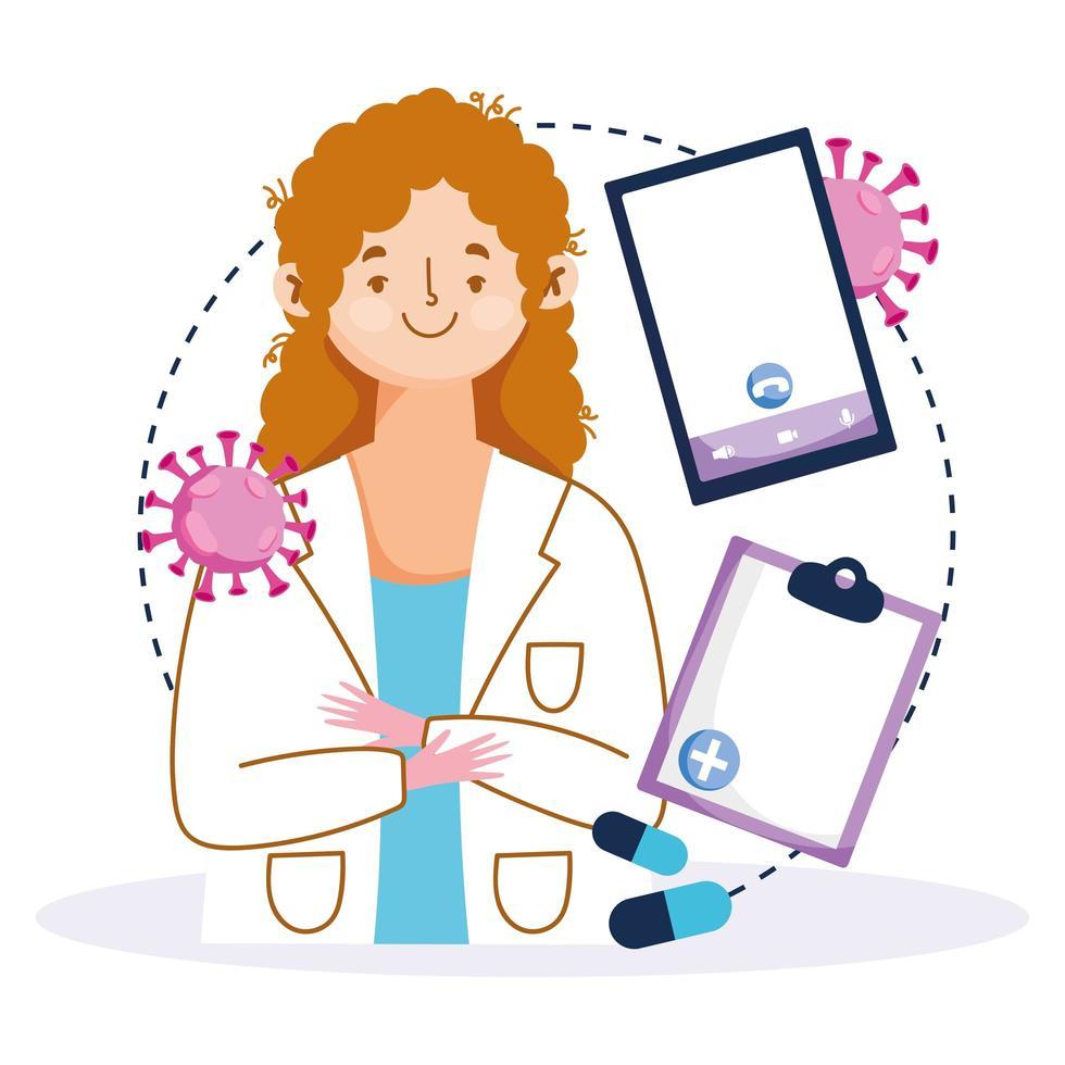Online-Betreuung mit einer Ärztin vektor