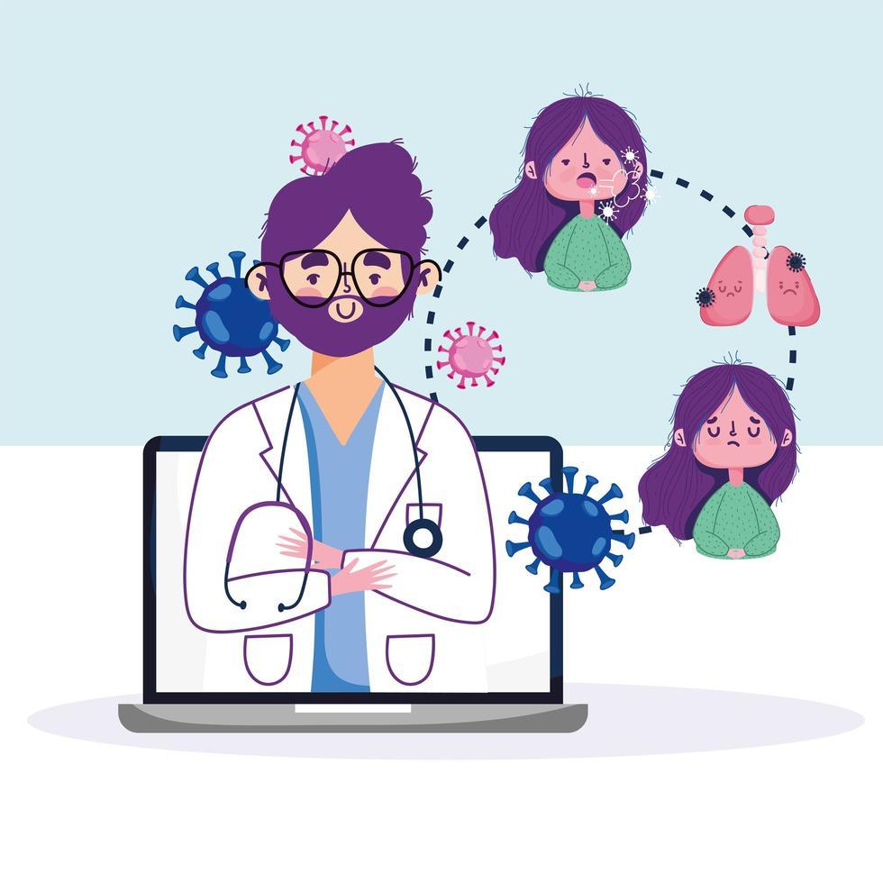 online hälsobesök med läkare och patient på datorn vektor