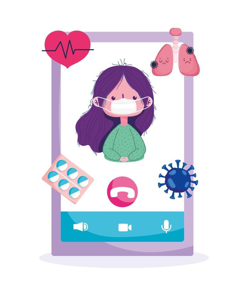 Online-Pflege mit Patientenmaske auf dem Telefonbildschirm vektor