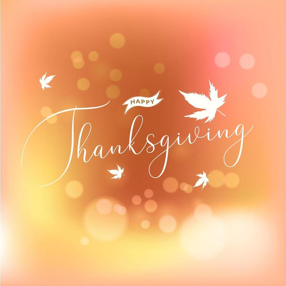 Happy Thanksgiving Kalligraphie auf Bokeh-Effekt vektor