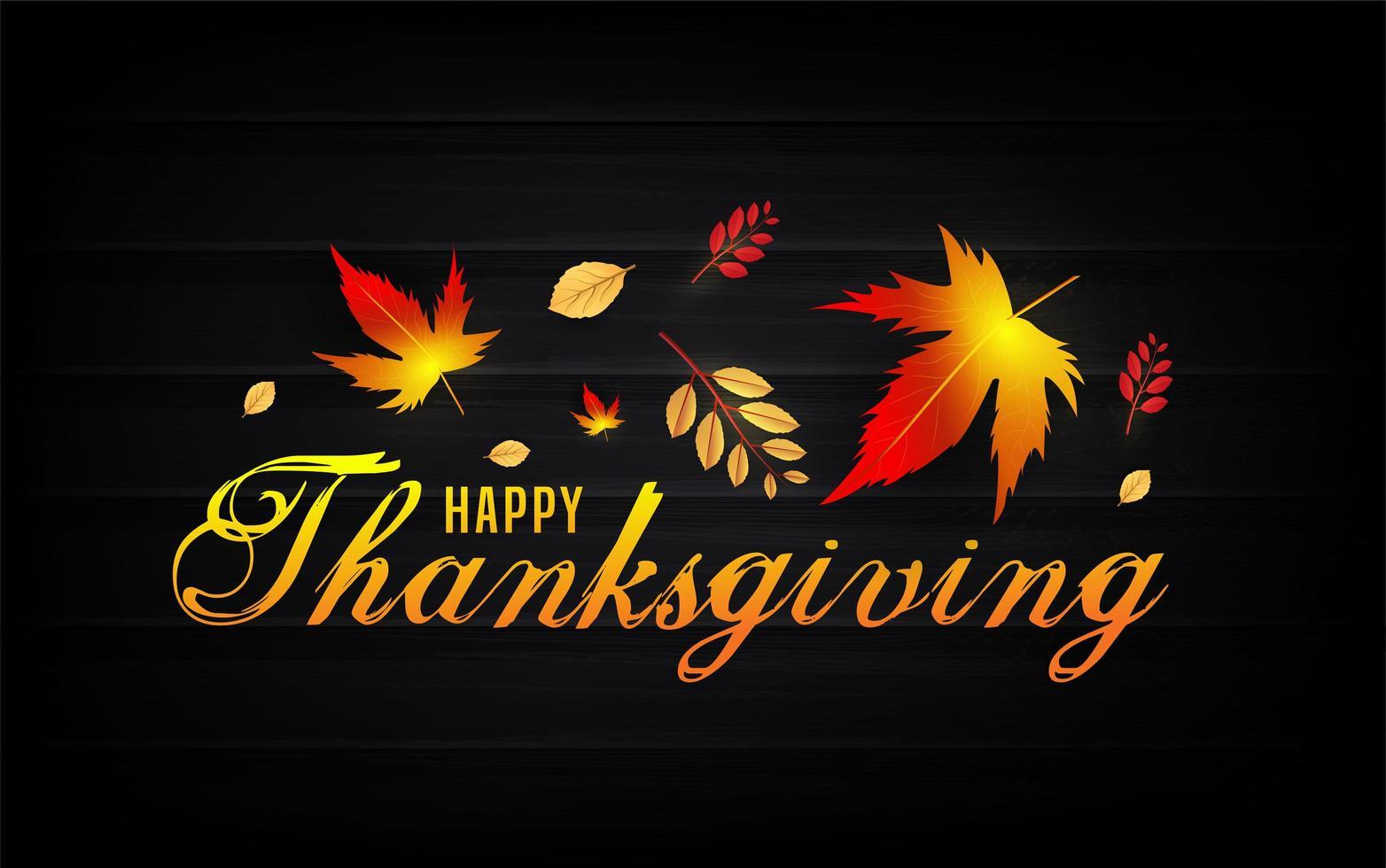 glad tacksägelsetekst med höstlöv på svart vektor
