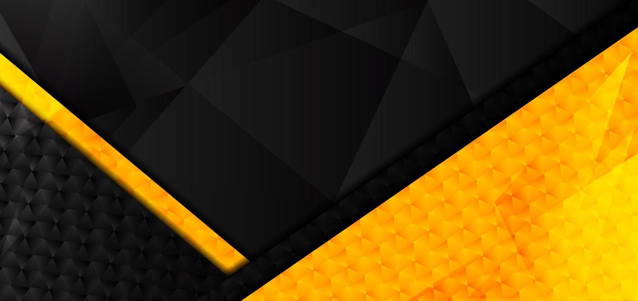 abstrakt gul, svart geometrisk överlappande bakgrund vektor