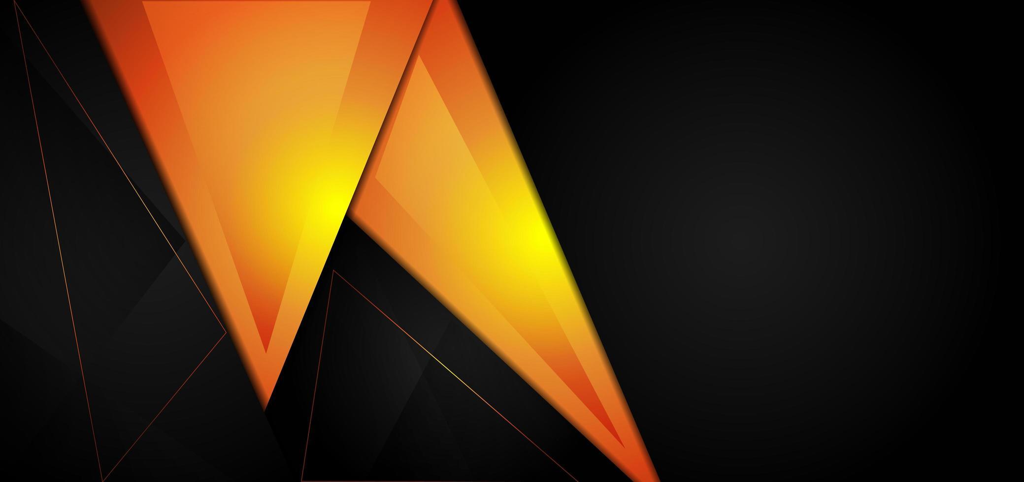 gelber und schwarzer geometrischer Dreieckhintergrund vektor