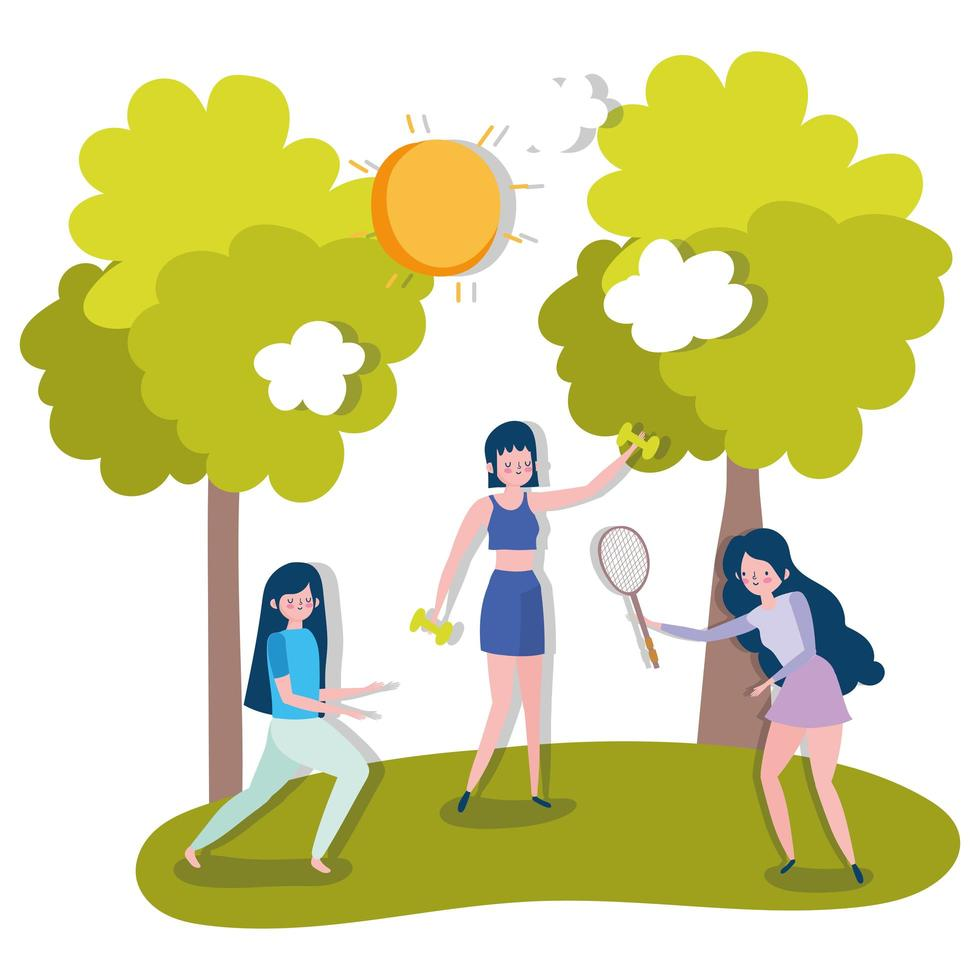grupp kvinnor som utövar sport utomhus vektor