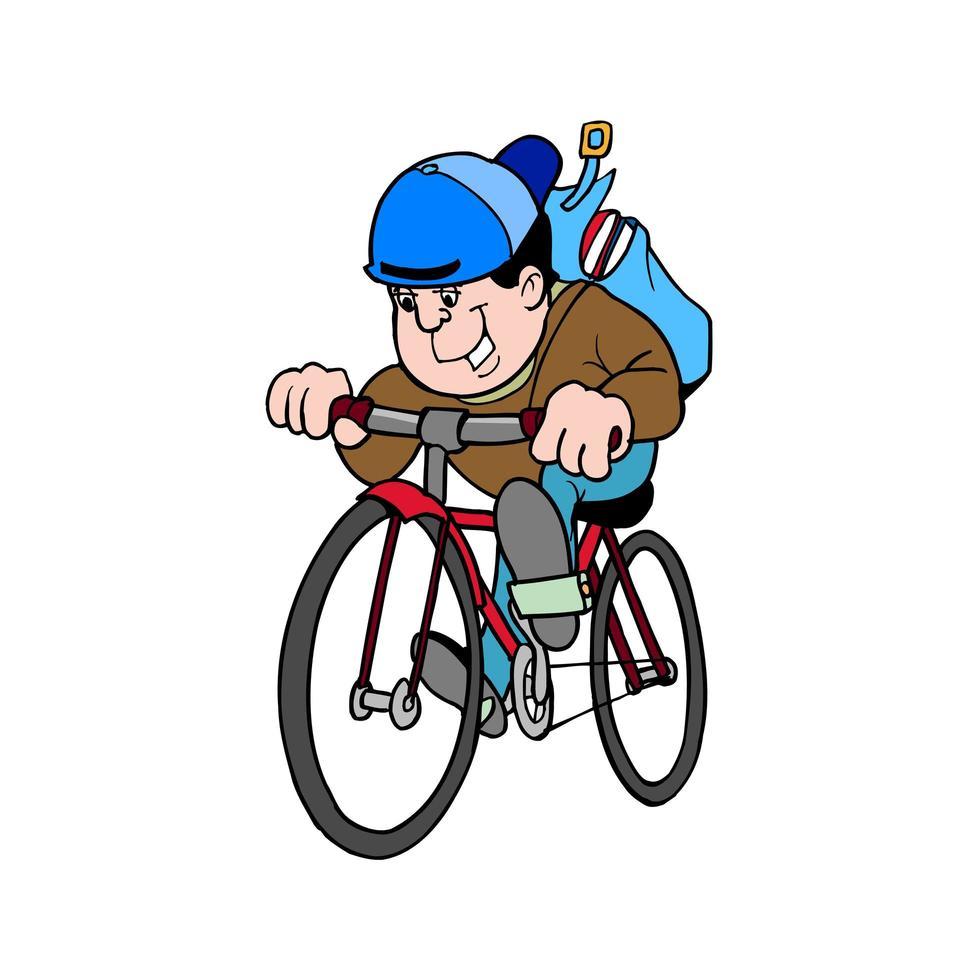 glad student som cyklar till skolan vektor