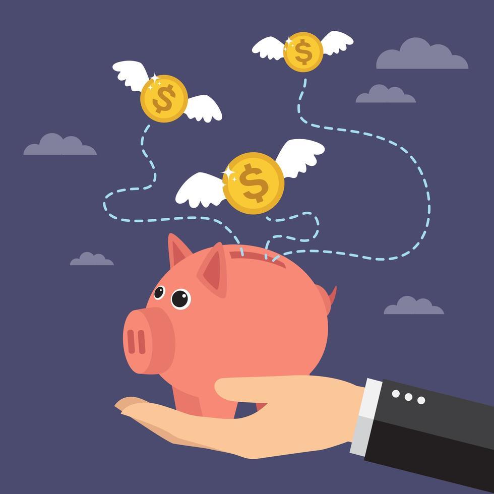 Hand hält Sparschwein mit fliegendem Geld vektor
