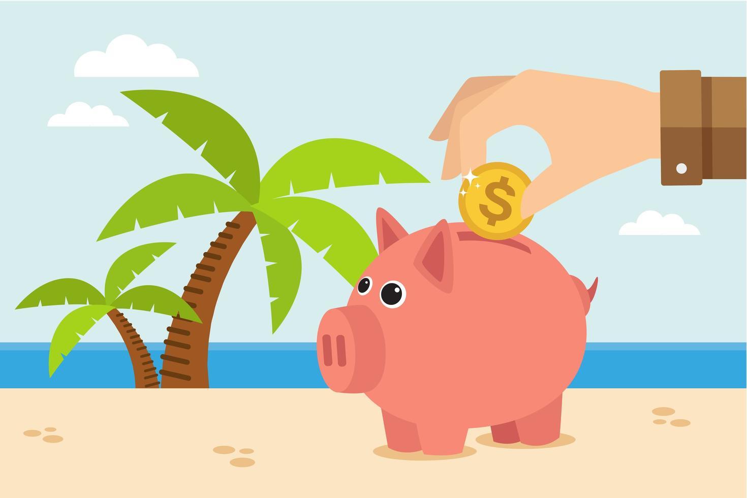Hand, die Münze in Sparschwein am Strand setzt vektor