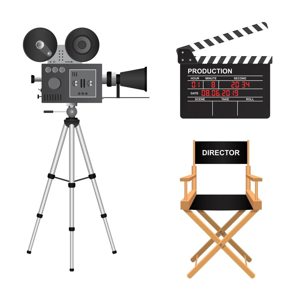 Retro-Kinoprojektor, Klappe und Regiestuhl vektor