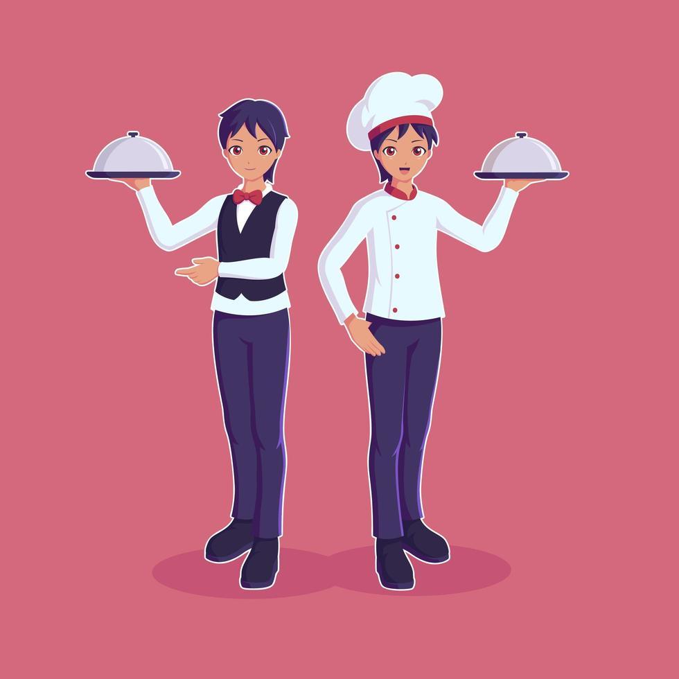 Koch und Sous Chef halten Tablett vektor