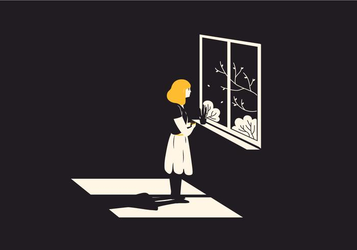 Fenster Frau Illustration vektor