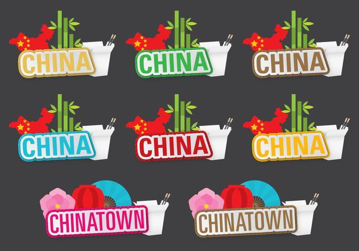 China und Chinatown Titel vektor