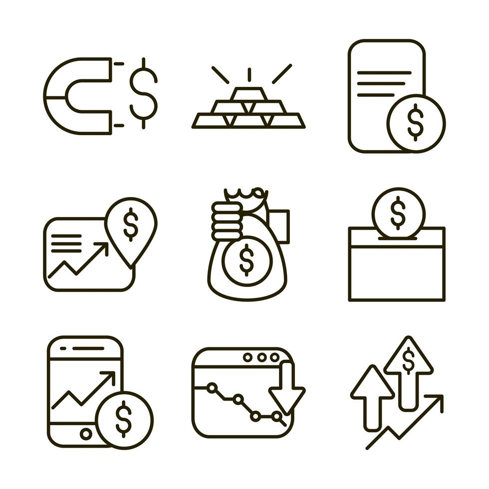 Börsen- und Finanzpiktogramm-Symbolpaket vektor