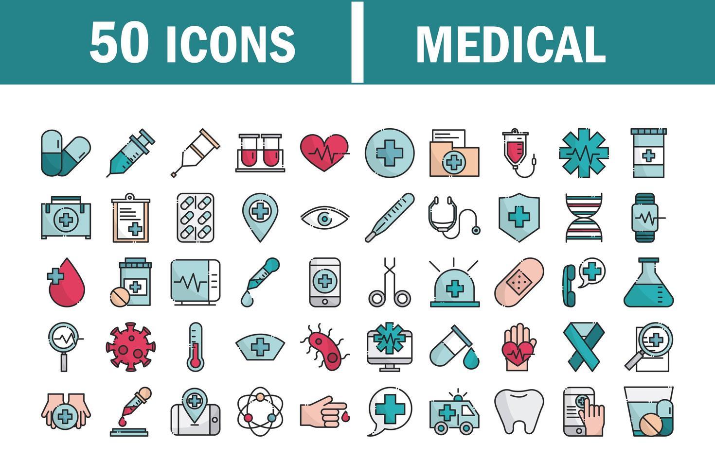 Satz von medizinischen und Gesundheitsausrüstungslinien und Füllsymbolen vektor