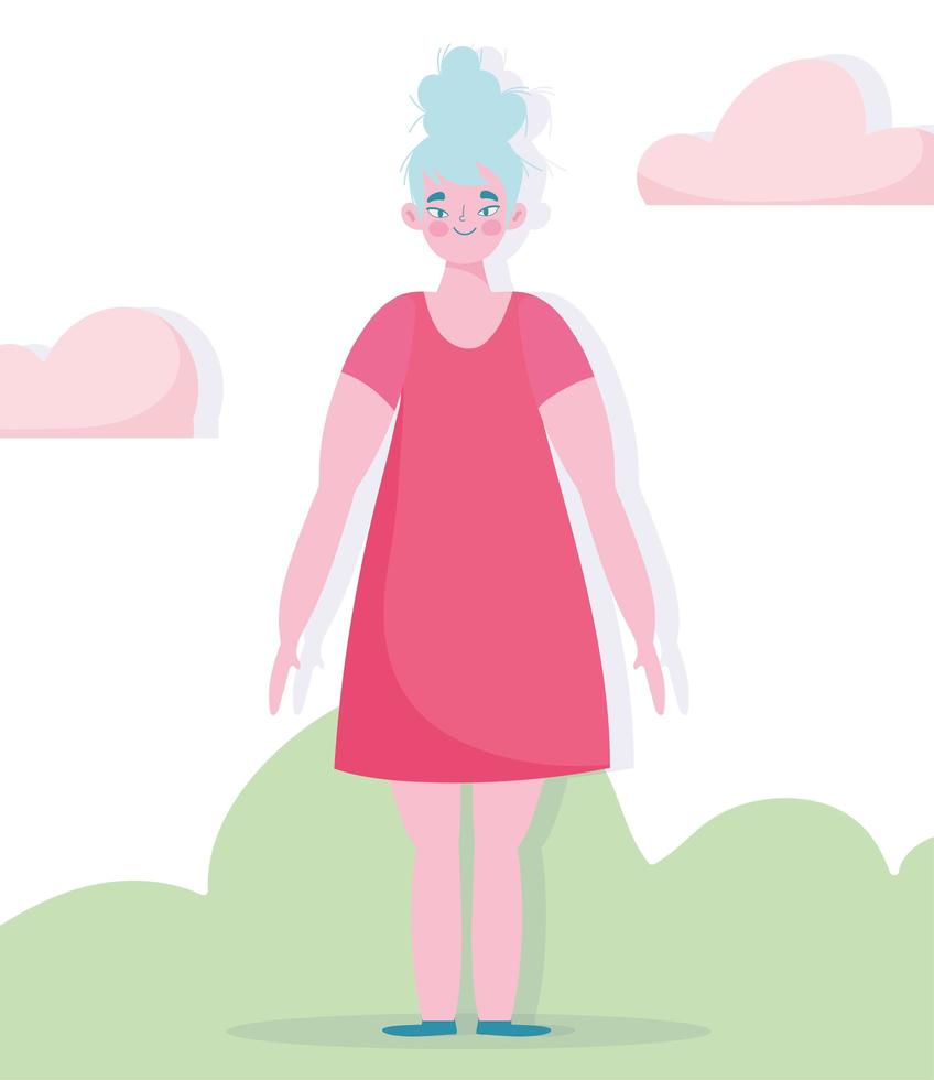 erwachsene Frau, die draußen auf dem Gras steht vektor