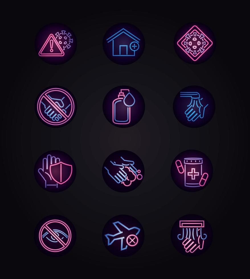 Neon-Stil-Ikone der Viruskrankheit auf Schwarz gesetzt vektor