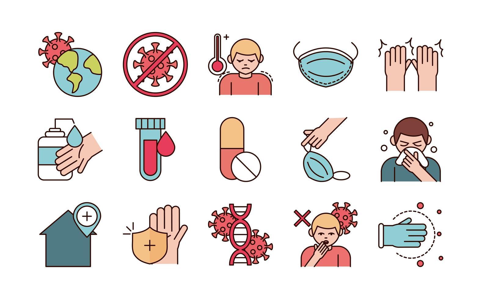 diverse viral infektionsförebyggande linje och fyllning piktogram ikoner vektor