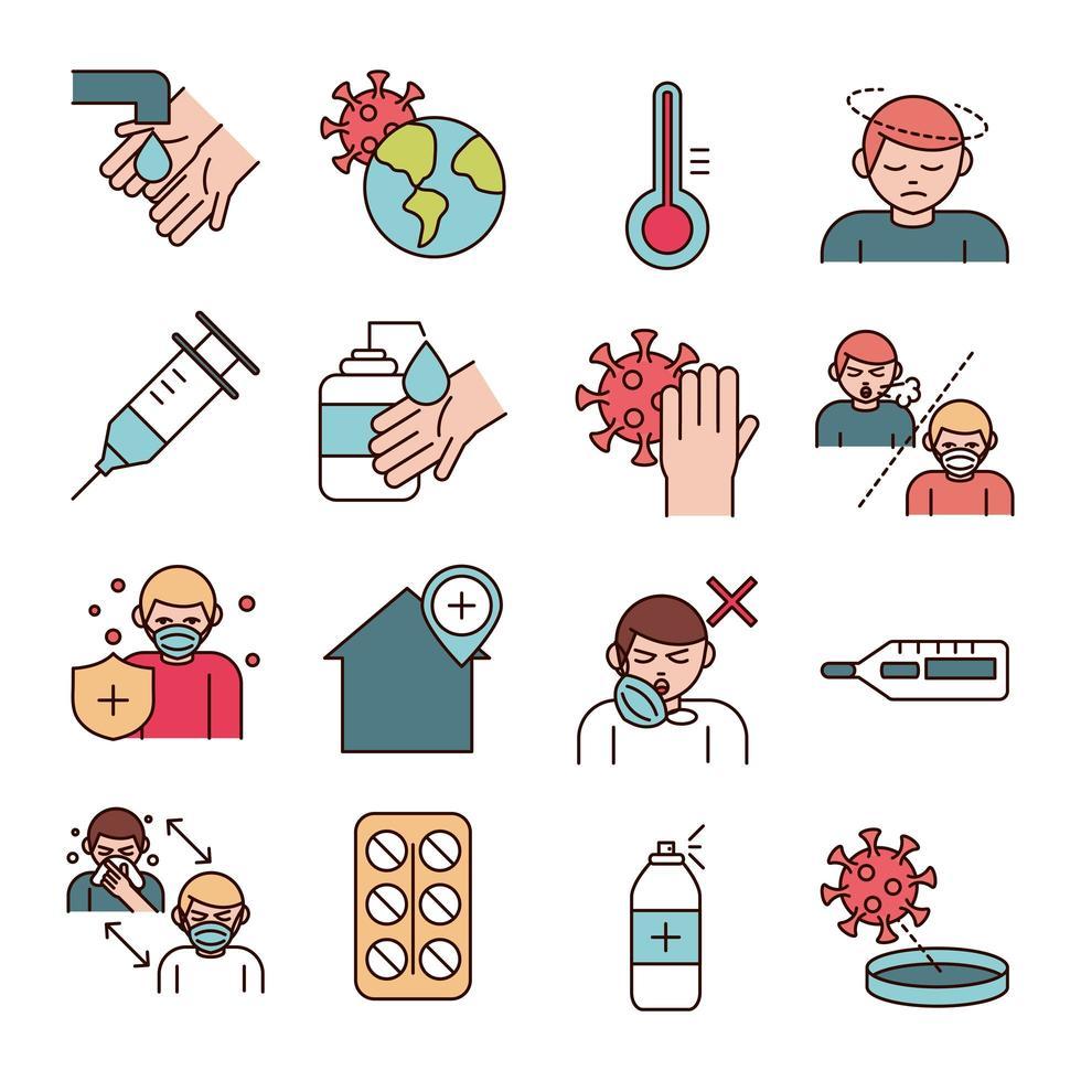 Linie zur Verhinderung von Virusinfektionen und Füllpiktogramm-Symbolsammlung vektor