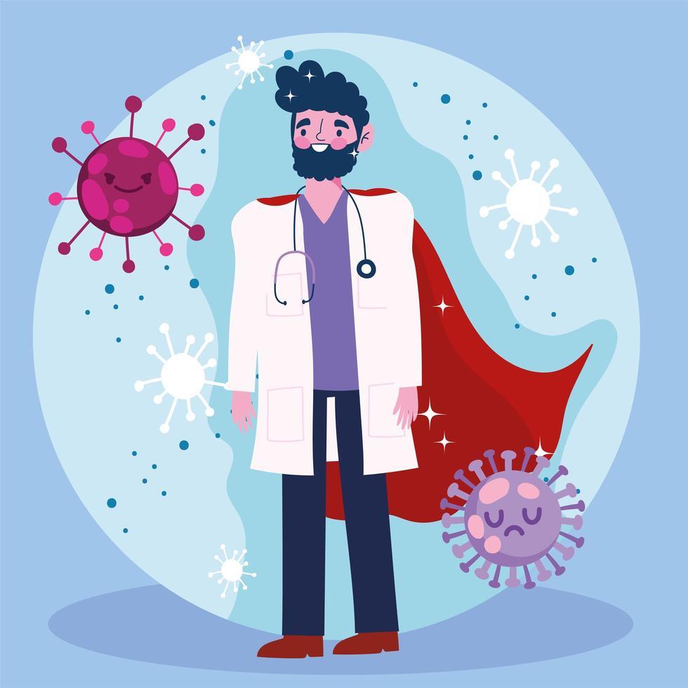 Doktor als Held auf einem niedlichen Virushintergrund vektor