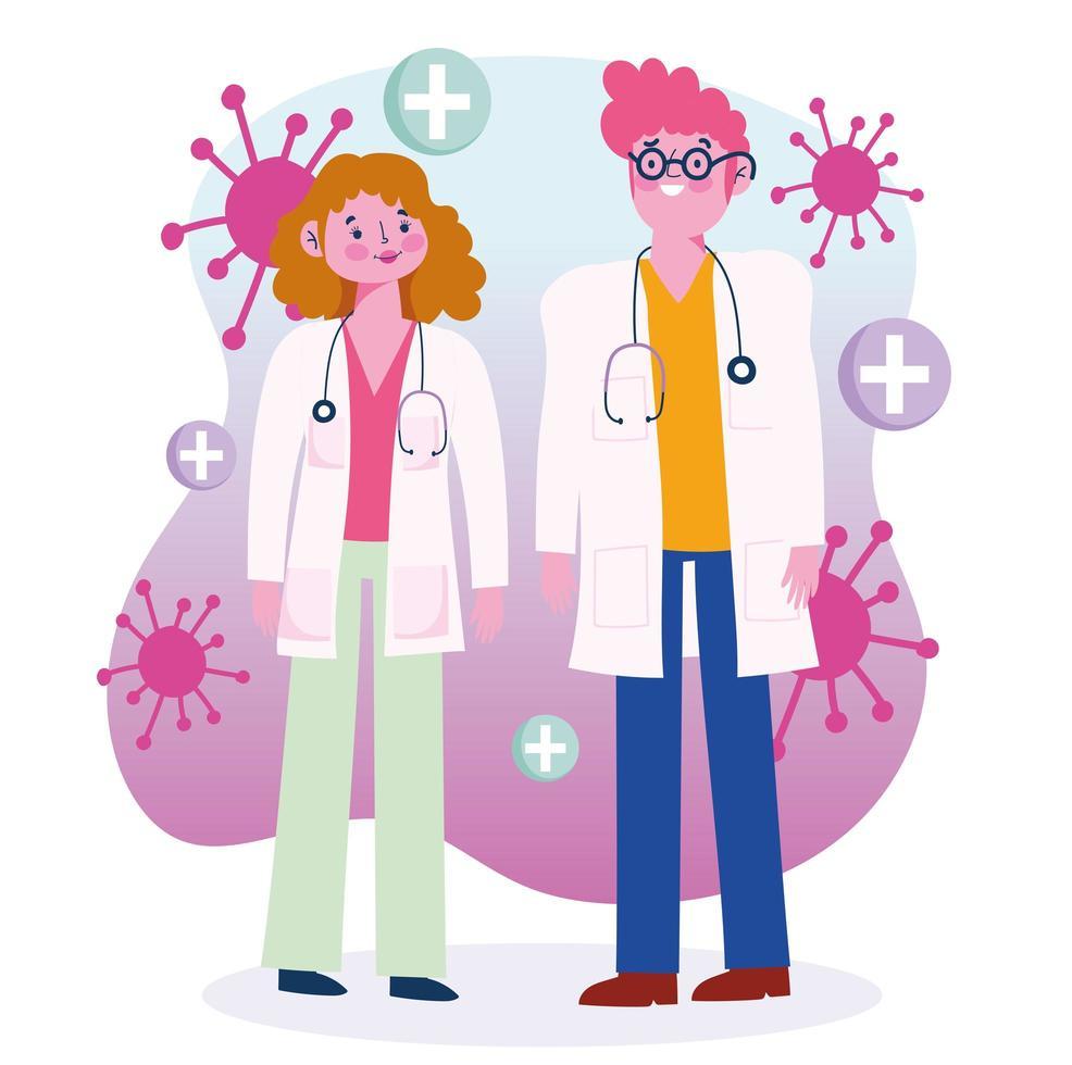 Beschäftigte im Gesundheitswesen, die während des Virusausbruchs arbeiten vektor