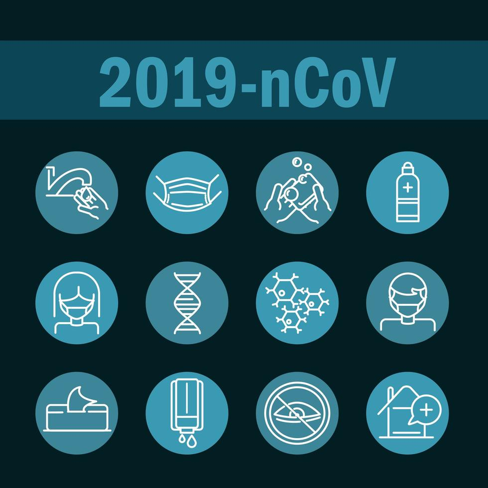 Blocklinien-Symbolsatz zur Verhinderung von Coronaviren vektor