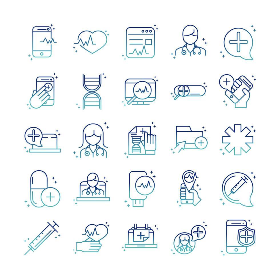 Online-Symbolpaket für Gesundheit und medizinische Hilfe auf Farbverlaufsstil vektor