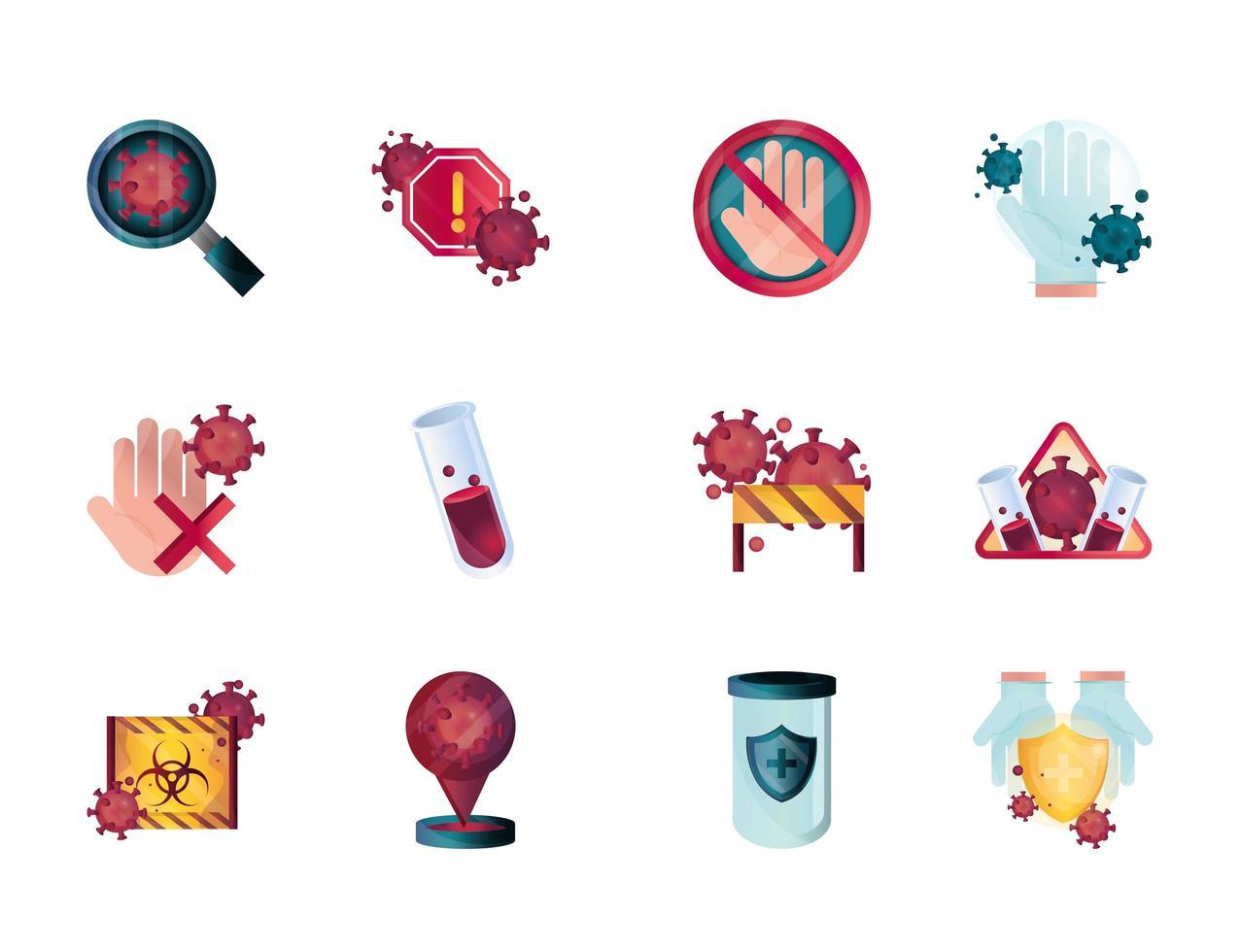 Sammlung von Symbolen zur Kontrolle von Coronaviren und Virusinfektionen vektor