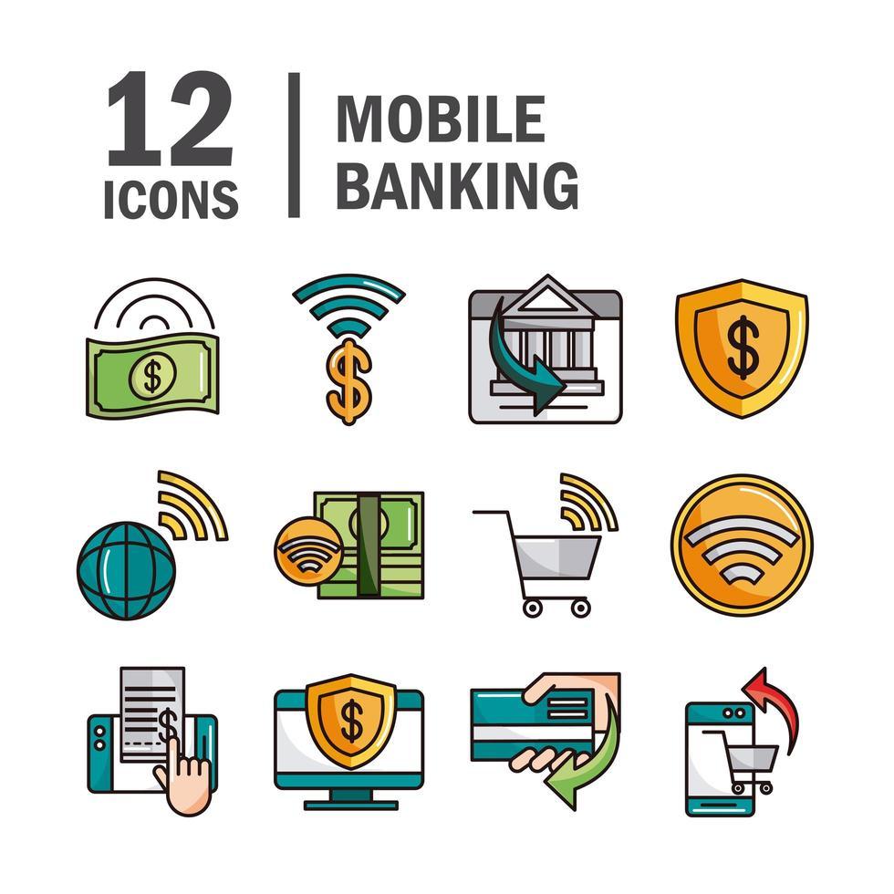 Mobile Banking und Online-Zahlungslinie und Füllsymbolsatz vektor