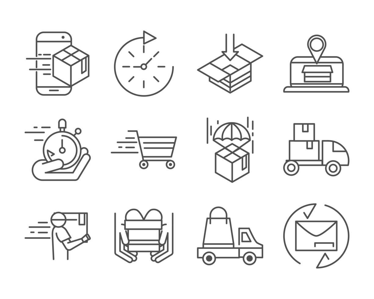 Expressversand und Logistiklinie Piktogramm Icon Pack vektor