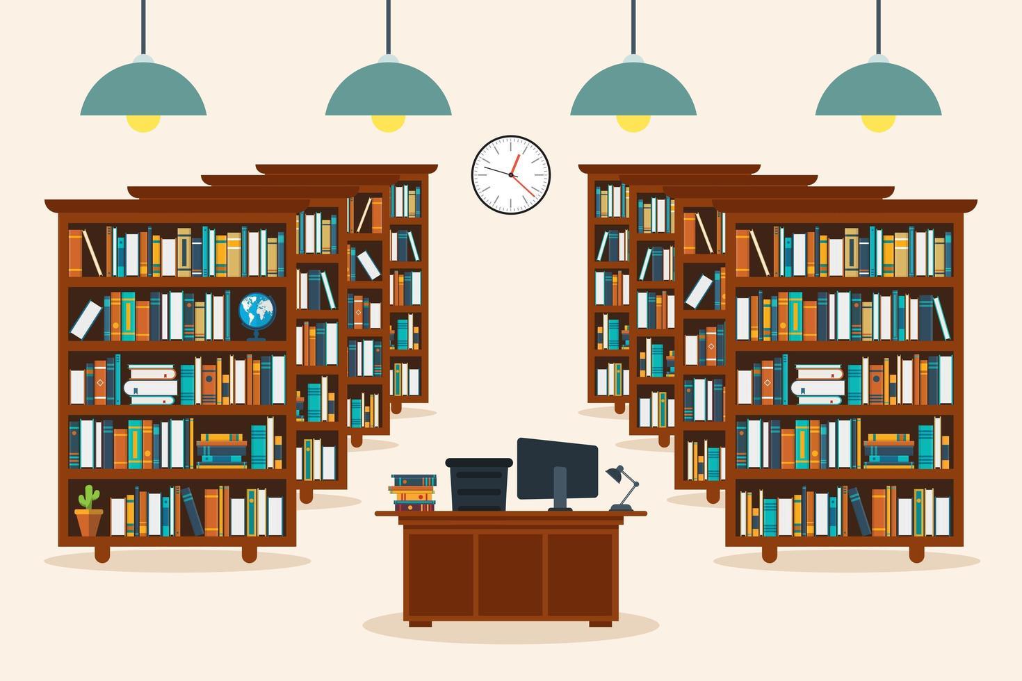 Bibliotheksinnenraum mit Büchern vektor