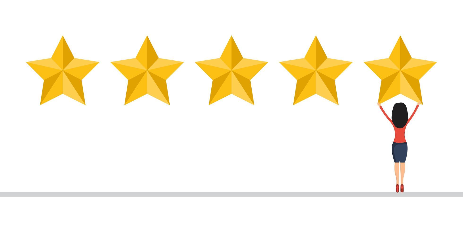 Geschäftsfrau geben eine 5-Sterne-Bewertung. vektor