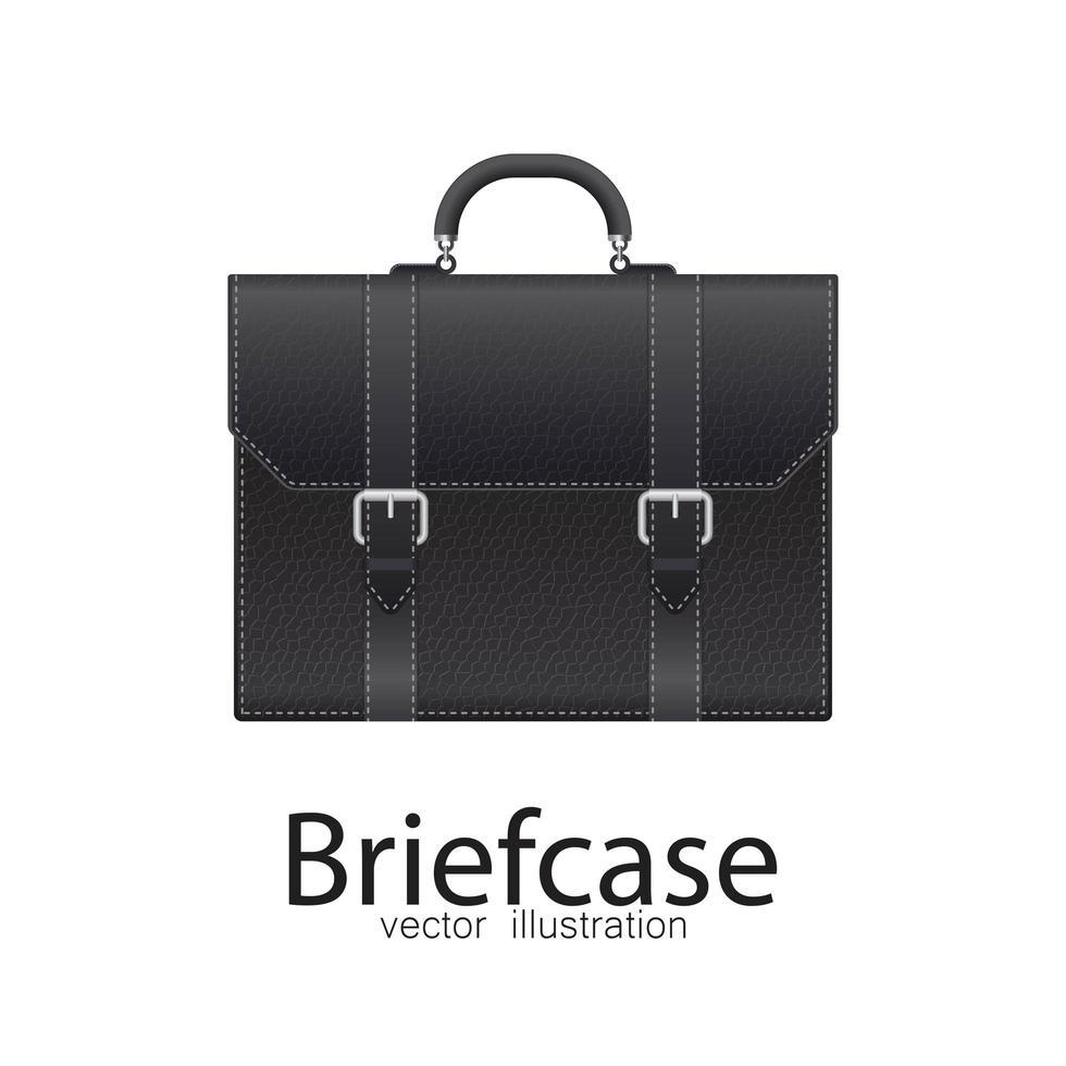 schwarze Business-Aktentasche isoliert vektor