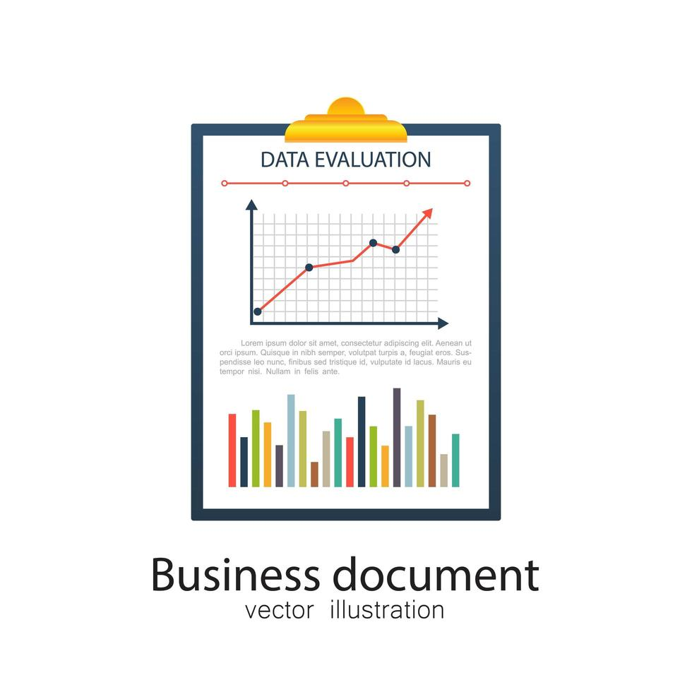 Dokument zur Auswertung von Geschäftsdaten vektor