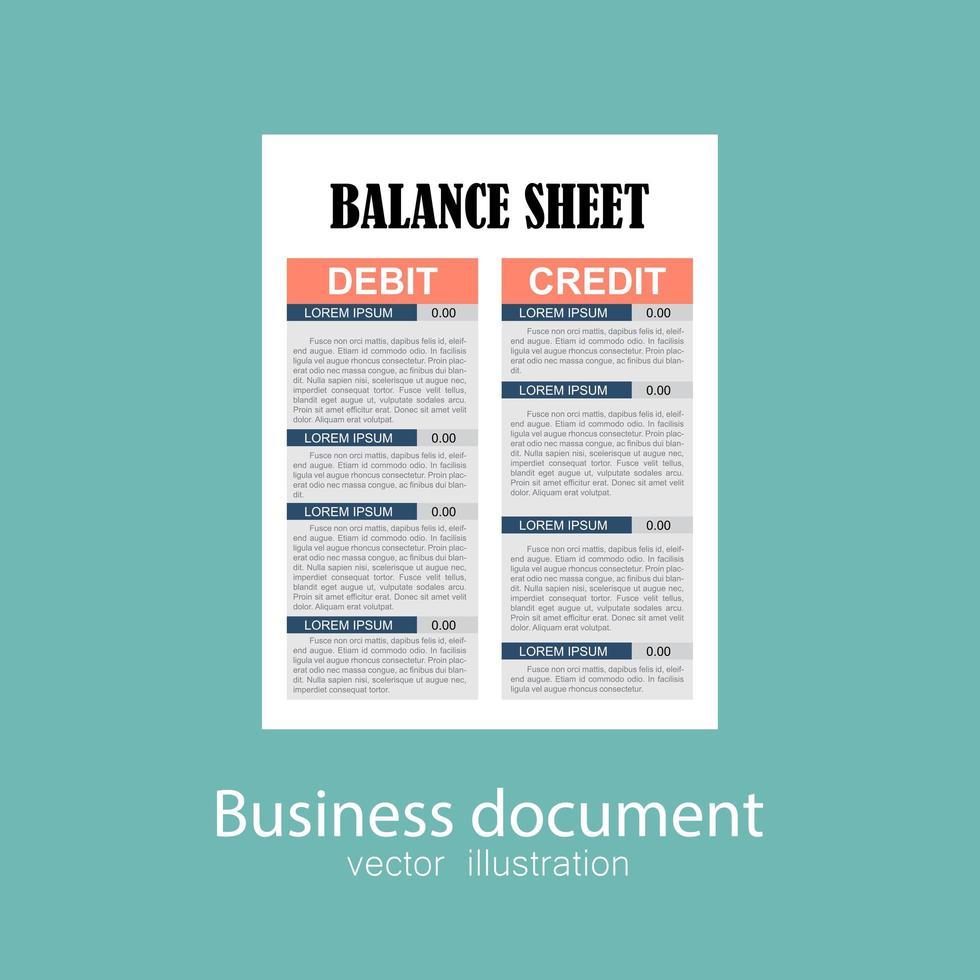 Geschäftsbilanzdokument. vektor