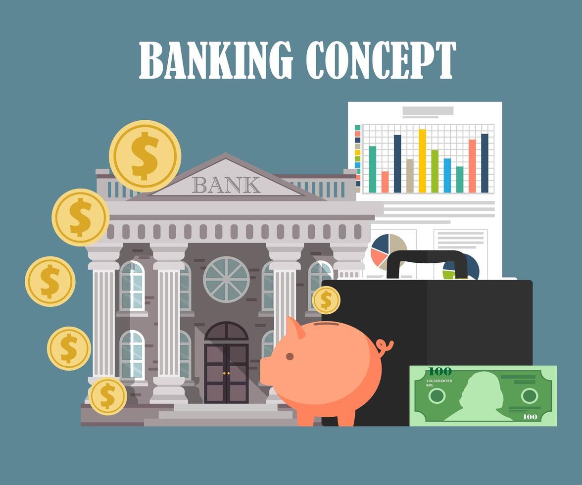 Bankkonzeptelemente vektor