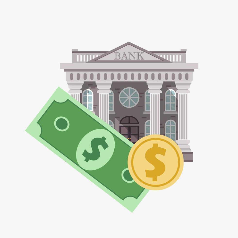 Bankkonzept mit Währung vektor