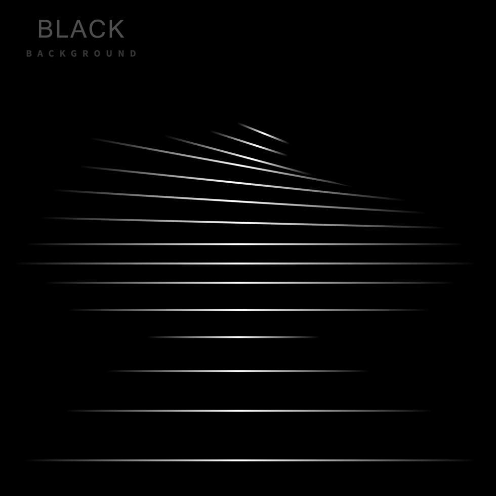 schwarzer Hintergrund mit silbernen abstrakten Streifen vektor
