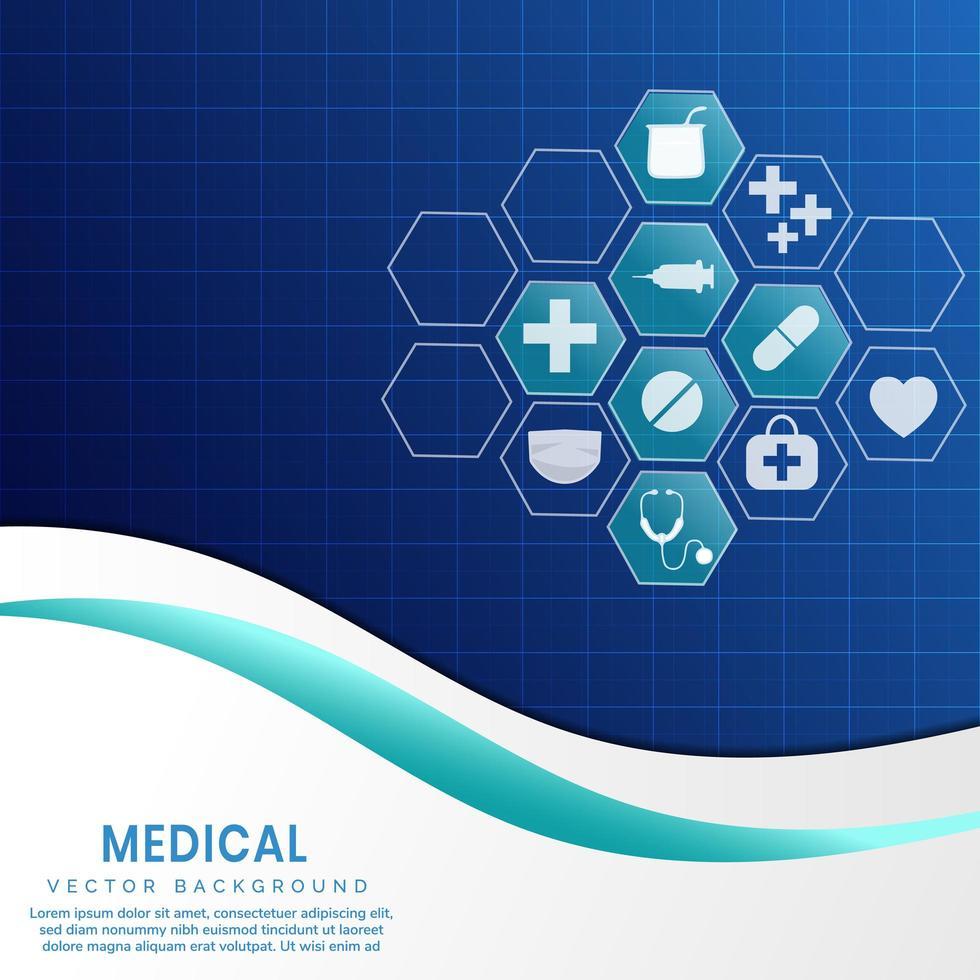 medizinischer blauer Hintergrund mit Sechseckikonen vektor