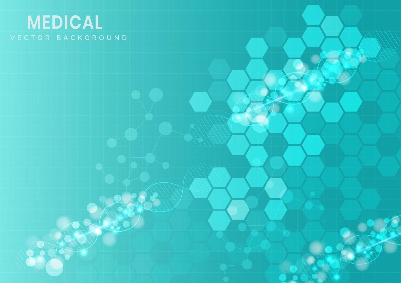 Hintergrund des türkisfarbenen Musters der molekularen Sechseckstruktur vektor