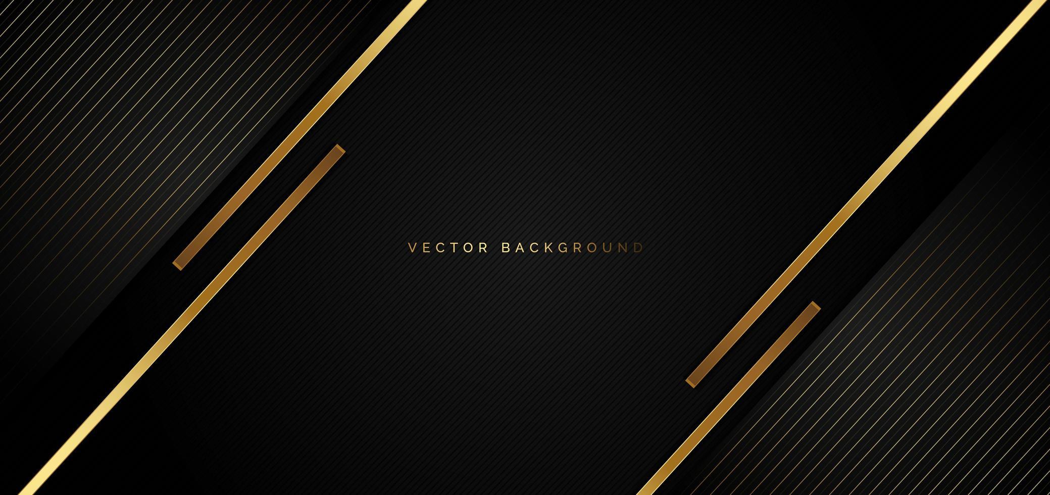 svart bakgrund med gyllene ränder i lyxstil vektor